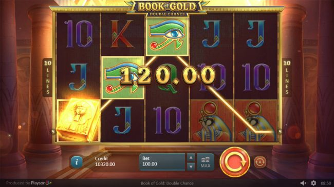 Magik Slots featuring the Video Slots Book of Gold Double Chance with a maximum payout of $150,000
