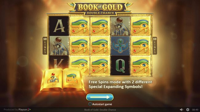 Split Aces featuring the Video Slots Book of Gold Double Chance with a maximum payout of $150,000