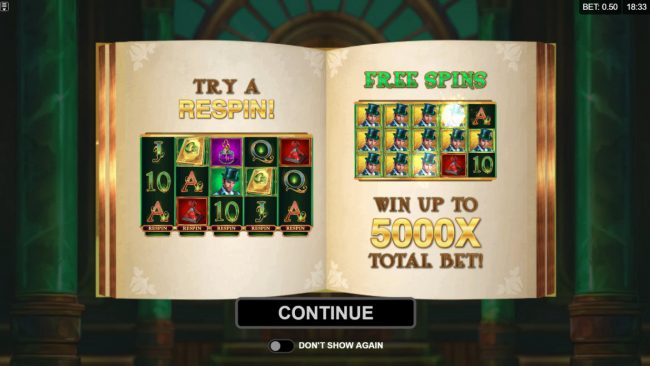 Play slots at Maple: Maple featuring the Video Slots Book of Oz Respin Feature with a maximum payout of $25,000