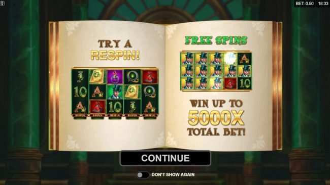 Jonny Jackpot featuring the Video Slots Book of Oz Respin Feature with a maximum payout of $25,000
