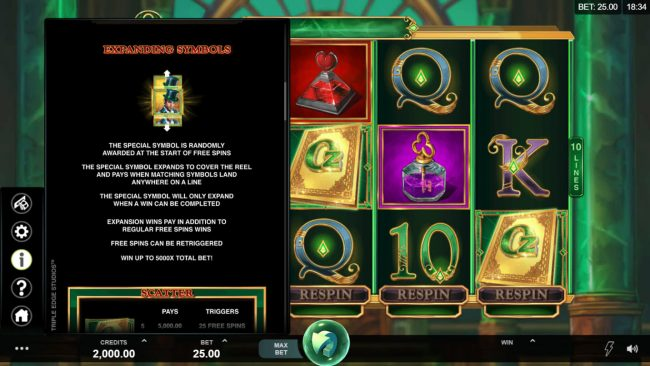 Play slots at Nostalgia Casino: Nostalgia Casino featuring the Video Slots Book of Oz Respin Feature with a maximum payout of $25,000