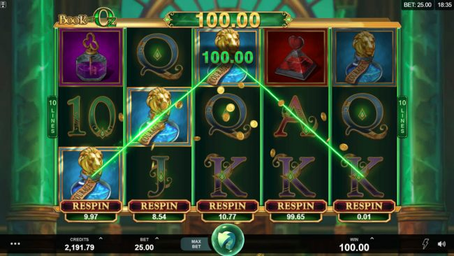 Quatro featuring the Video Slots Book of Oz Respin Feature with a maximum payout of $25,000