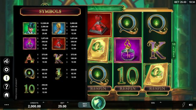 Play slots at River Nile: River Nile featuring the Video Slots Book of Oz Respin Feature with a maximum payout of $25,000