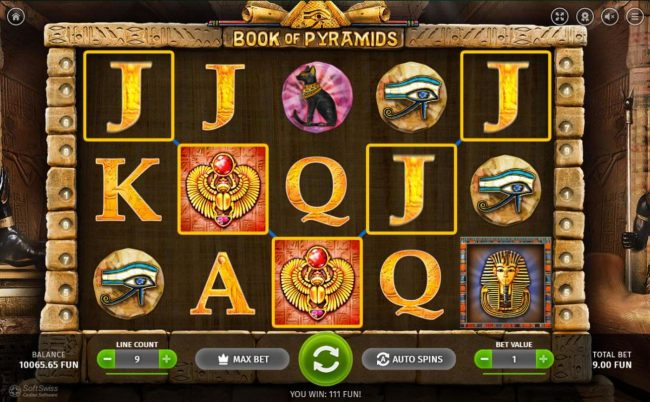 King Billy featuring the Video Slots Book of Pyramids with a maximum payout of $9,999