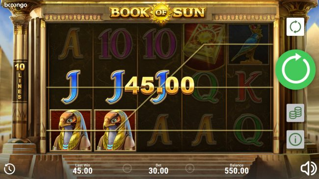 Cyber Spins featuring the Video Slots Book of Sun with a maximum payout of $150,000