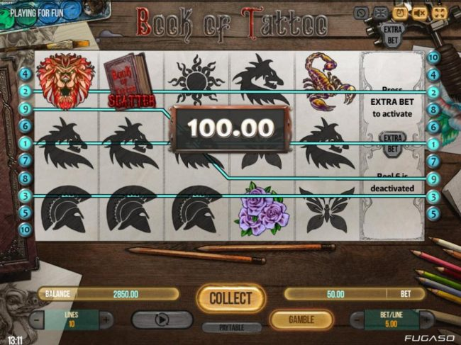 Winnining paylines triggers a 100.00 payout