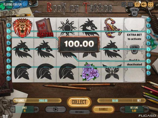 Winnining paylines triggers a 100.00 payout