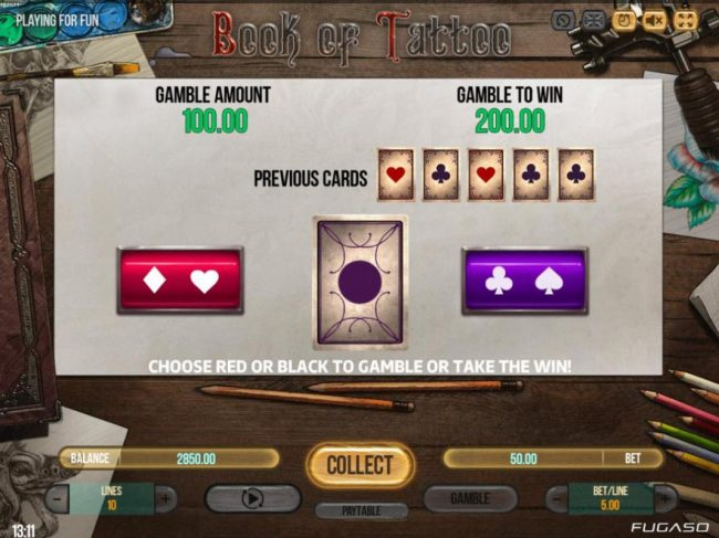 ReelTastic featuring the Video Slots Book of Tattoo with a maximum payout of $750,000