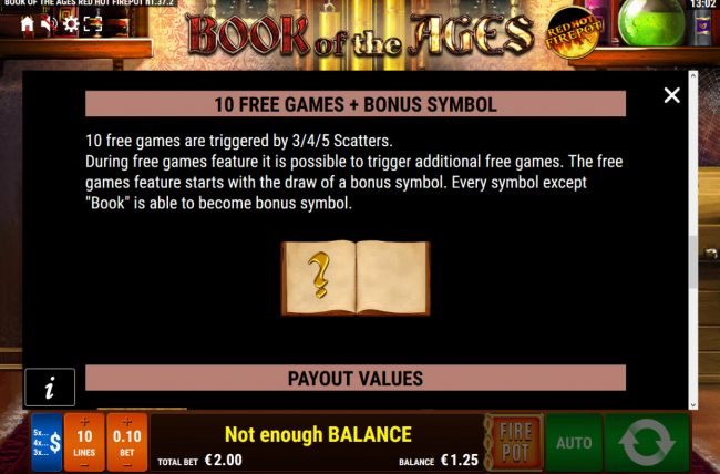 Cbet featuring the Video Slots Book of the Ages Red Hot Firepot with a maximum payout of Jackpot
