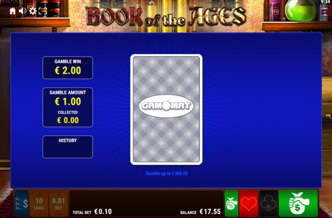 Book of the Ages :: Card Gamble Feature Game Board