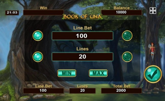 Click on the COIN button to adjust the coin size and numbers of lines played.