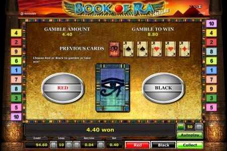 Book Of Ra slot game gamble feature
