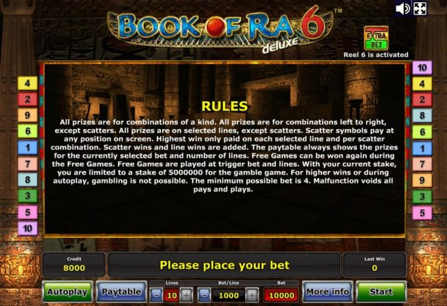 Book of Ra Deluxe 6 :: General Game Rules