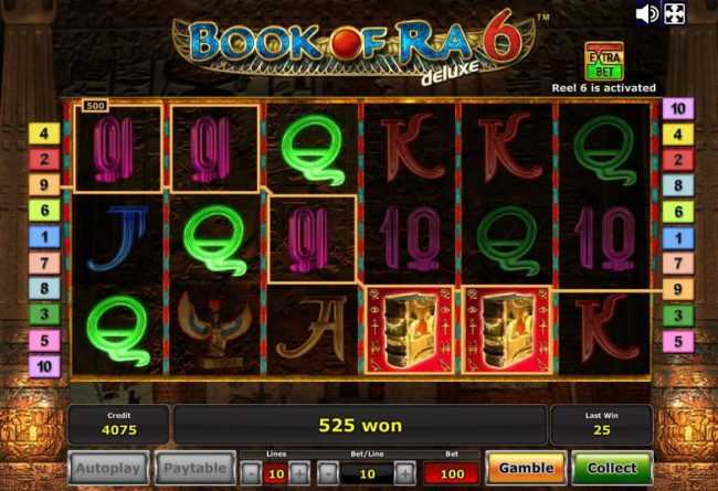 Book of Ra Deluxe 6 :: Multiple winning paylines triggers a 525 coin big win!