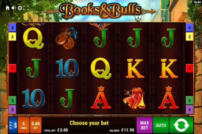 Books & Bulls :: Main game board featuring five reels and 5 paylines with a $1,500 max payout.