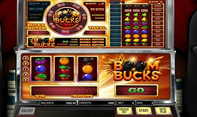 Top Bet featuring the Video Slots Boom Bucks with a maximum payout of $8,000