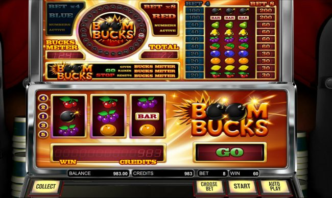 770Red featuring the Video Slots Boom Bucks with a maximum payout of $8,000