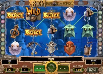 Slot Planet featuring the Video Slots Boom Brothers with a maximum payout of $37,500