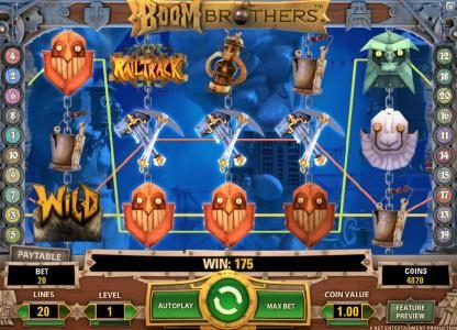 Oshi featuring the Video Slots Boom Brothers with a maximum payout of $37,500