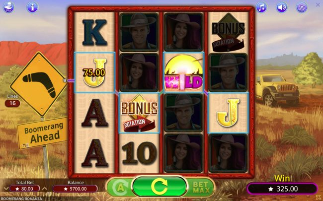 Vegas Crest featuring the Video Slots Boomerang Bonanza with a maximum payout of $25,000