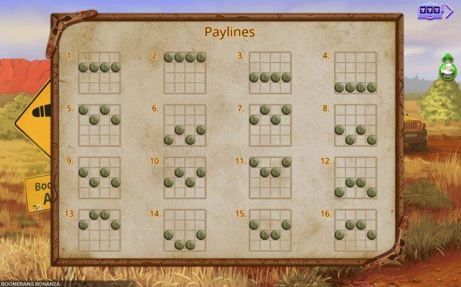 Paylines 1-16