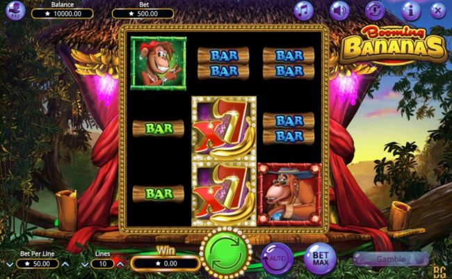 Booming Bananas :: Main game board featuring three reels and 10 paylines with a $38,500 max payout.