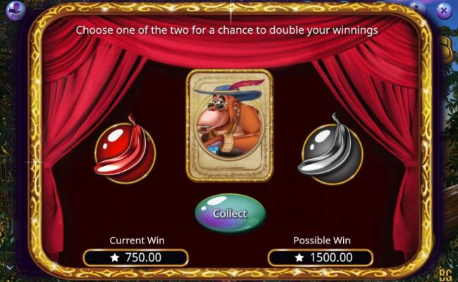 Booming Bananas :: Gamble Feature - To gamble any win press Gamble then select Red or Black or Suit