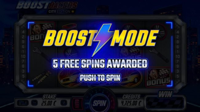 Boost Racers City Edition :: 5 free spins awarded