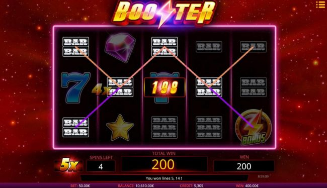 Joe Fortune featuring the Video Slots Booster with a maximum payout of $12,000