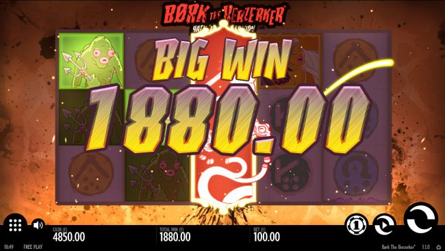 Conquer featuring the Video Slots Bork the Berzerker Hack 'N' Slash Edition with a maximum payout of $100,000