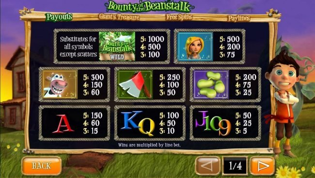 Powerspins featuring the Video Slots Bounty of the Beanstalk with a maximum payout of Jackpot