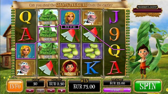 Wicked Jackpots featuring the Video Slots Bounty of the Beanstalk with a maximum payout of Jackpot