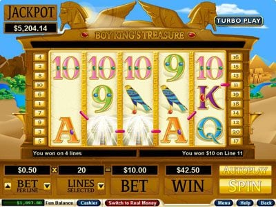 Play slots at Slots Empire: Slots Empire featuring the Video Slots Boy King's Treasure with a maximum payout of $250,000