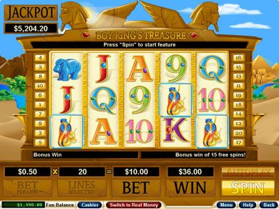 Bovada featuring the Video Slots Boy King's Treasure with a maximum payout of $250,000