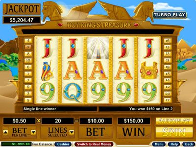Prism featuring the Video Slots Boy King's Treasure with a maximum payout of $250,000