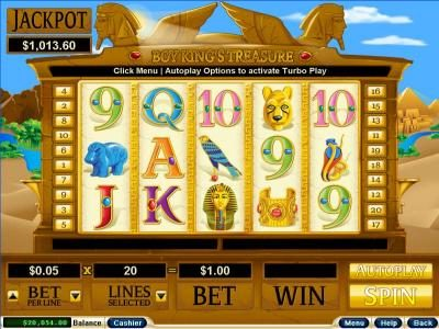 Pure Vegas featuring the Video Slots Boy King's Treasure with a maximum payout of $250,000