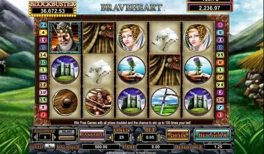 Astralbet featuring the Video Slots Braveheart with a maximum payout of $10,000