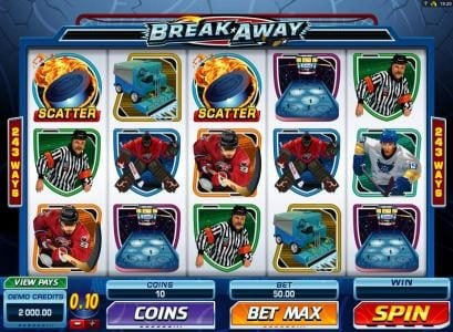 Vegas Spins featuring the Video Slots Break Away with a maximum payout of $1,000,000