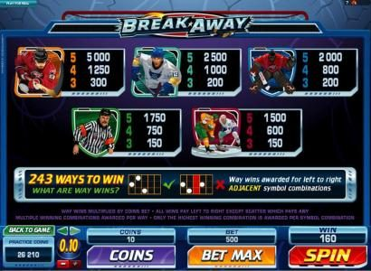 Winner Million featuring the Video Slots Break Away with a maximum payout of $1,000,000