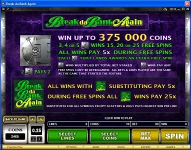 Vegas Seven featuring the Video Slots Break da Bank Again with a maximum payout of $250,000