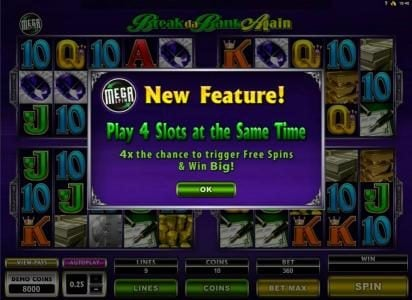 Nostalgia Casino featuring the Video Slots Break da Bank Again II with a maximum payout of $18,750