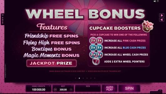 Wheel Bonus - features Friendship Free Spins, Flying High Free Spins, Boutique Bonus and Magic Moment Bonus