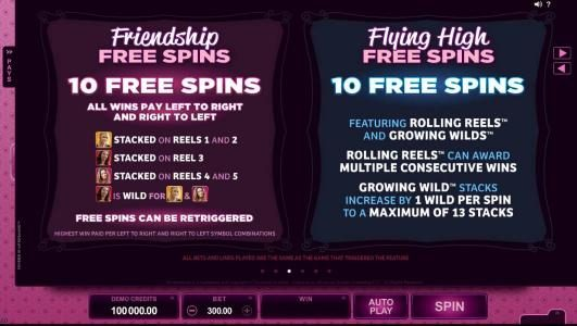 Friendship Free Spins and Flying High Free Spins game rules and how to play