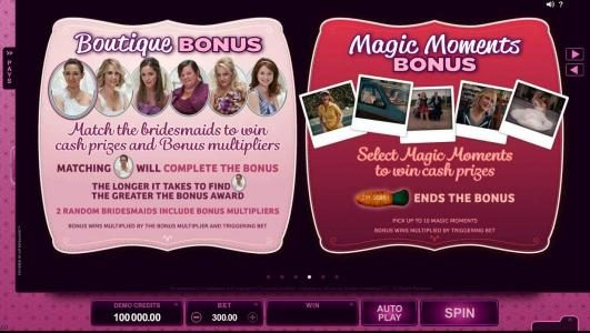 Game rules and how to play the Boutique Bonus and Magic Moments Bonus