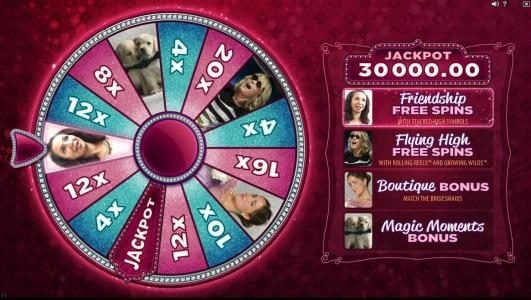 Bridesmaids :: Wheel Bonus triggers the Friendship Free Spins with stacked high symbols