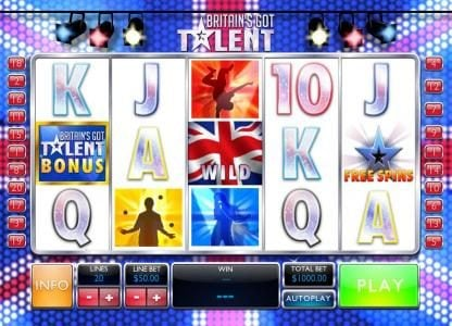 Betfair featuring the Video Slots Britain's Got Talent with a maximum payout of $500,000