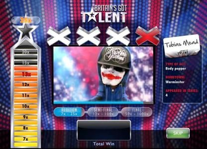 Chips Palace featuring the Video Slots Britain's Got Talent with a maximum payout of $500,000