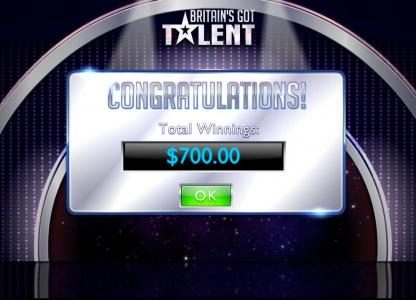 Total winnings for the Live Show Bonus feature are $700.00