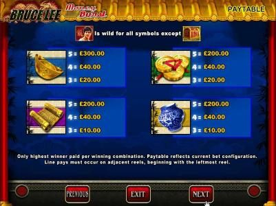 Bruce Lee :: Slot Game Symbols Paytable continued - Only highest winner paid per winning combination. Paytable reflects current bet configuration. Line pays must occur on adjacent reels, beginning with the leftmost reel.