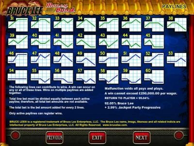 Bruce Lee :: Payline diagrams 31 to 60 and general game rules.